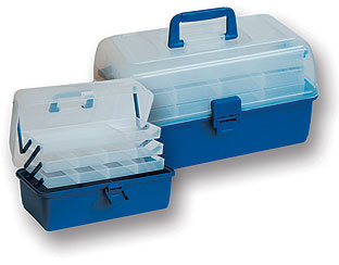 3cc0bf5df RYBÁŘSKÝ KUFŘÍK - polypropylenový kufřík se třemi podlažími a  transparentním víkem. Barva: světle modrá. Rozměry: 340 x 190 x 200 mm.